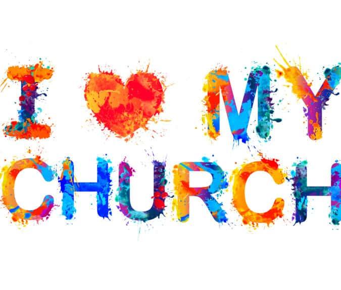 I love my church. Vector watercolor splash paint